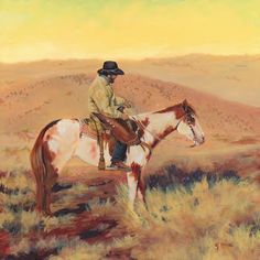 "Equine Artists International: Western Art, Horse Cowboy Landscape Painting ""SUNRISE-MCELMO-CANYON-2"" by Colorado Landscape Artist Nancee Jean Busse, Painter of the American West"