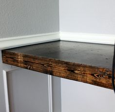 DIY Chunky Built-in Desktop - turn this into rustic, floating shelves for hallway