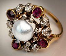 Renaissance revival Victorian pearl, ruby, diamond ring
