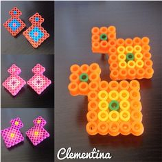 Earrings perler beads by Clementina Inventa Inventos