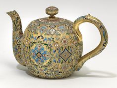 Russian silver cloisonné teapot by Wasilij Agafonow, Moscow Kokoschnik hallmark 1899-1908