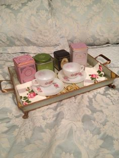 Tea for two? We have our Vintage Tray, Tea Cloth and Tea Cups with a nice assortment of gourmet teas! SO LOVELY!!!