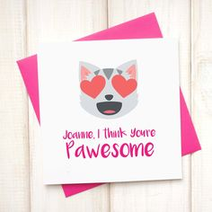 Valentines Emoji Card - Personalised You're Awesome Emoji Card - Youre Awesome Card - From the Pet Card - Pet Birthday Card - Girlfriend - Etsy - LetsDreambyChiChiMoi Animal Birthday, You're Awesome, Cool Cards, Emoji, Birthday Cards, Valentines Day, Reusable Tote Bags, Pets, Unique Jewelry