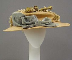 Bow for front of red hat ~ Hat Date: ca. 1905 Culture: American Medium: straw, silk, cotton
