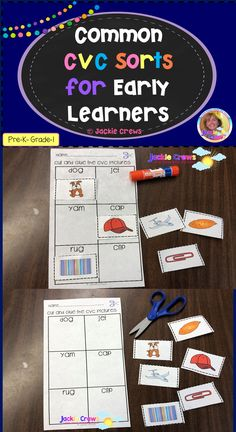 This pack of CVC sorts has 78 medial vowels with six words to a page. All the words have matching graphics that students cut and glue underneath the words. #cvcwords, #earlylearning, #shortvowels, #grade1,#kindergarten, #Jackiecrews, #literacycenters, #cut/paste, #Englishlearners, #picturesupport, #ESL Elementary Teacher, Teacher Pay Teachers, Elementary Education, Superhero Teacher, Upper Elementary, English Language Learners, Language Arts, Reading Resources, Classroom Resources