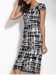 Elegant Round Neck Short Sleeve Printed Bodycon Dress For Women