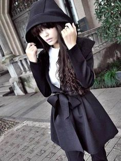 Black Hooded Coat | Cute Japanese Fashion
