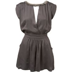 Grey Embellished Neck Playsuit (76 AUD) ❤ liked on Polyvore featuring dresses, tops, vestidos, shirts, ss10 partywear, ss10 shoot video, women's clothing and miss selfridge