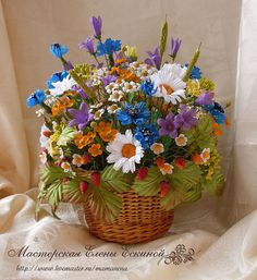 """Купить Полевой букет """"Земляничная поляна"""" - корзинка с цветами, лето, цветы ручной работы"""