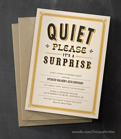 Quiet please it's a surprise - surprise party invitations 80th Birthday, Birthday Parties, Surprise Party Invitations, Surprise Surprise, Party Ideas, Fun, Anniversary Parties, Ideas Party, Birthday Celebrations