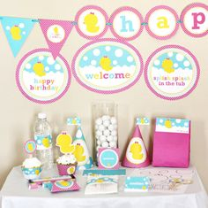 Girl Rubber Ducky (Duckie) Birthday Printable Party Kit - INSTANT DOWNLOAD via Etsy