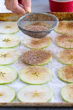 Baked apple chips are a healthy snack made with your favorite variety of apple. Cinnamon and a light dusting of powdered sugar enhance the flavor. #applechips #healthysnack #apples #snacks