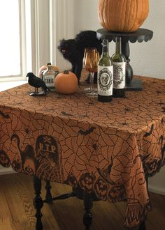 Rest In Peace Black Lace Table Topper by Heritage Lace. Great Halloween decor!