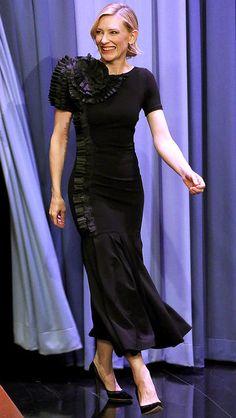 Cate Blanchett in a black midi dress