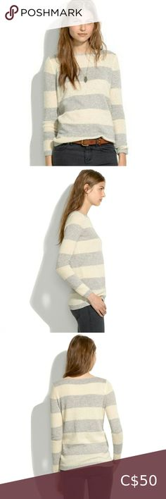 Madewell Softstripe Striped Boat Neck Sweater A flattering boatneck long sleeve sweater by Madewell. Textural grey and cream contrast stripes. -long sleeves -boatneck -pullover styling -Cotton/wool/acrylic/nylon/alpaca In good pre-owned condition. Madewell Sweaters Crew & Scoop Necks