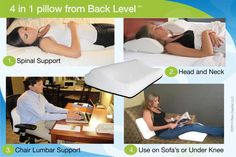 Get our 4 in 1 Back Pillow Off Regular Price Today Only! Do you or someone you know Suffer from Back Pain? Our 4 in 1 Back Pillow could make a HUGE difference! Use for Spinal Support whi… Lower Back Pain Relief, Relieve Back Pain, Back Pillow, Lumbar Pillow, Knee Exercises, Stretches, Back Pain Remedies, Best Mattress, Head And Neck
