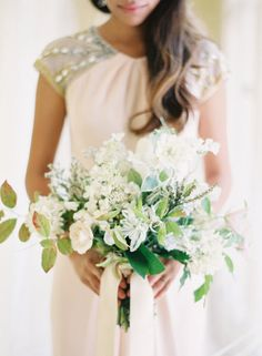 Soft white and green bouquet: #bouquet #white: www.ryleehitchnerblog.com
