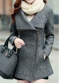 Grey Pocket Design Zipper Closure Coat on sale only US$38.01 now, buy cheap Grey Pocket Design Zipper Closure Coat at modlily.com