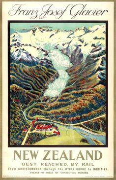 New Zealand Franz Josef Glacier, 1932 - original vintage poster by Edgar McLeod Lovell Smith listed on AntikBar.co.uk