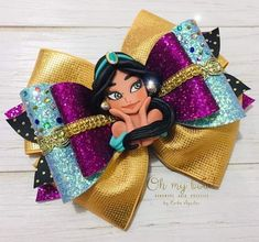 Disney's Aladdin - Disney Princess Jasmine hair bow for girls. Jasmine Hair, Disney Hair Bows, Bow Template, Ribbon Bows, Ribbon Hair, Ribbon Flower, Fabric Flowers, Ribbons, Hair Decorations