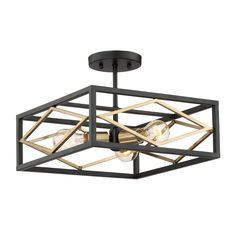 Quoizel Platform 14-in W Black with Gold Glass Semi-Flush Mount Light