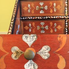 Happy Valentines Day! Check out the detail of these inlaid ivory hearts that decorate the inside of the 18th-century Peruvian mother of pearl desk in Doris Dukes bedroom.