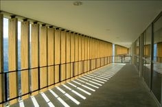 Image 17 of 33 from gallery of Antonio Derka School / Obranegra Arquitectos. Photograph by Carlos Pardo School Architecture, Architecture Design, Facade, Beautiful Places, Louvre, Stairs, Exterior, Gallery, Wood