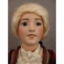 "12.5"" Lorraine Limoge AL&Co No 0 Glass eyed Bisque Socket Head Doll"