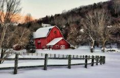 red barns in the snow - Bing images