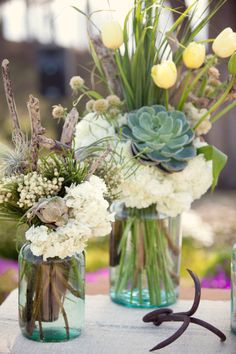 Great for a Summer or Sea Side, or even Lake Wedding - What a beautiful mixture of flowers and succulents.  -    Style Me Pretty   Gallery   Picture   #666983
