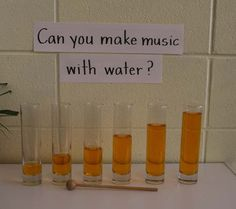 Can You Make Music with Water? Example of using signs in the science center to add print to the pre-k classroom Teaching Music, Teaching Science, Science For Kids, Science Activities, Science Projects, Sound Science, Science Centers, Science Ideas, Movement Activities
