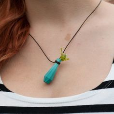 Vase Pendant Planter Teal now featured on Fab. Wearable Planter