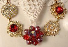 Vintage Ruby Red Crystal & Rhinestone Gold Bridesmaids Bridal Bracelet, Heirloom Cluster Earring Bracelet One of a Kind Wedding Gifts