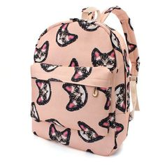 Cute Cat Pattern Women Leather Backapck