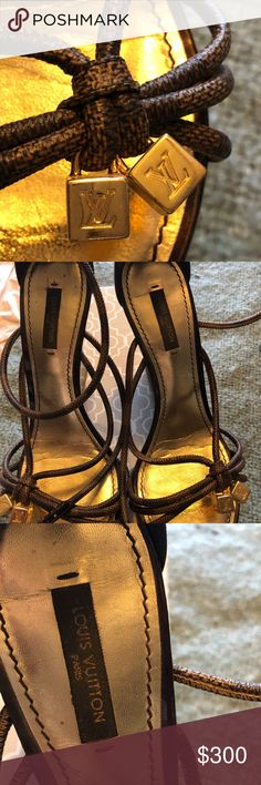 Louis Vuitton wedges Brown rope like LV wedges with LV gold cubes in front Louis Vuitton Shoes Wedges