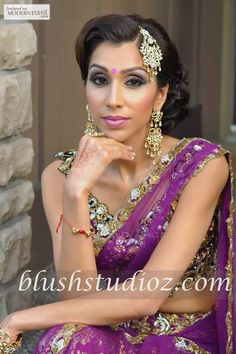 South Asian Bridal Hair Makeup Lengha Jewellery - more inspiration @ http://www.ModernRani.com