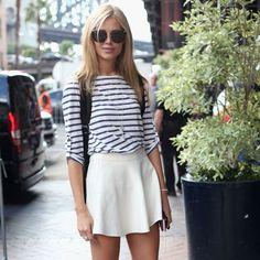 Striped shirt & white skirt.