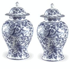 "Set of 2 20"" Tall Chinese Blue & White Porcelain Phoenix Lotus Temple Jars .."