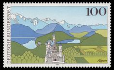 Neuschwanstein Castle Stamps Collection Castle Silhouette, German Stamps, Neuschwanstein Castle, Grafik Design, Stamp Collecting, Science And Nature, Postage Stamps, Poster, Pictures