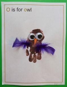 Paula's Preschool and Kindergarten: Oceans of fun with letter O Hand print owls