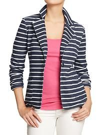 """Just bought this today. I am totally in love with the """"cheater"""" blazers. These are cotton and much more confy than the stiff traditional ones. Women's Knit Blazers at Old Navy Knit Blazer, Striped Blazer, Striped Jacket, Knit Jacket, Striped Knit, Blazer Jacket, Matches Fashion, Old Navy Women, Beige"""