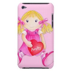 Cute rag doll girls personalized name pink ipod touch case. Watercolor art by www.sarahtrett.com