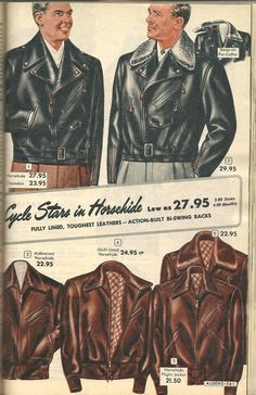 Choosing The Right Men's Leather Jackets. A leather coat is a must for every single guy's closet and is also an excellent method to express his personal design. 1940s Mens Fashion, Retro Fashion, Vintage Fashion, Vintage Jacket, Vintage Men, Illustration Mode, Illustrations, Style Masculin, Riders Jacket