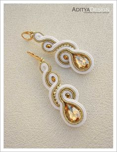 Soutache Earrings bridesmaid gift Gold White by AdityaDesign – jewelry Red Jewelry, Boho Jewelry, Bridal Jewelry, Handmade Jewelry, Bridesmaid Earrings, Bridal Earrings, Bridesmaid Gifts, Soutache Necklace, Wire Wrapped Jewelry