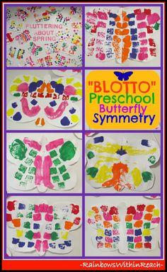 """Preschool Bulletin Board of Symmetric """"Blotto"""" Butterflies - Spring Colors"""
