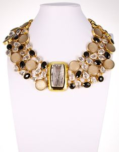 Style# ALN09: Tourmalated Quartz (center), Onyx, Italian Lucite & Clear Quartz Necklace by Charles Albert. Retail $ 2,999.