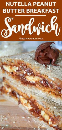 This Nutella Peanut Butter Breakfast sandwich is real guilty pleasure! This delicious combination will totally rock your world while helping you start the day right! #easypeasycreativeideas #breakfast #sandwich #nutella #peanutbutter #breakfastideas