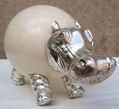 Anthony Redmile Ostrich Egg and Silver Hippopotamus Sculpture, England House Hippo, Rhino Art, Baby Hippo, Sculptures For Sale, Hip Hip, Safari Animals, Art Model, Wild Things, Whales