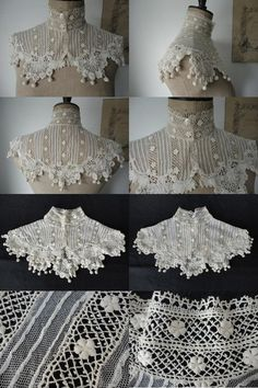 Crochet Collar, Lace Collar, Historical Costume, Historical Clothing, Irish Crochet, Crochet Lace, Edwardian Fashion, Vintage Fashion, Linens And Lace