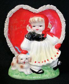 Vintage Valentine Vase Planter Little Girl w/ Dog Heart Spaghetti Trim 50s Japan